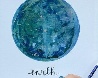 Hand Embellished Earth Print
