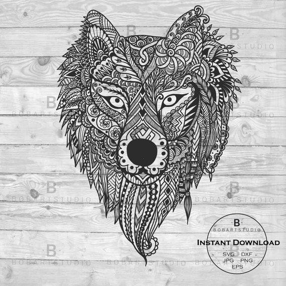 Zentangle Wolf Wolf Mandala Svg Tier Zentangle Etsy