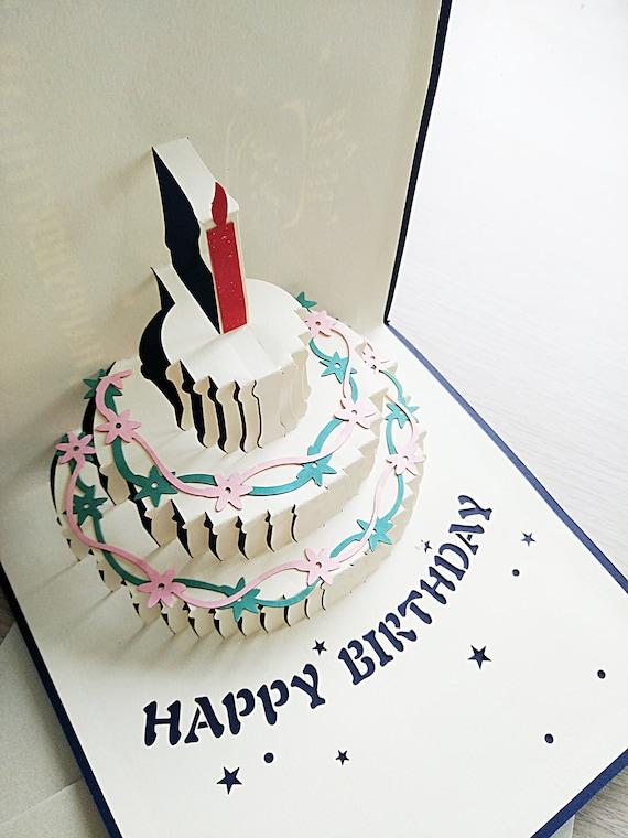 Fabulous Pop Up Birthday Card 3D Birthday Cake Pop Up Card 3D Card Etsy Personalised Birthday Cards Paralily Jamesorg