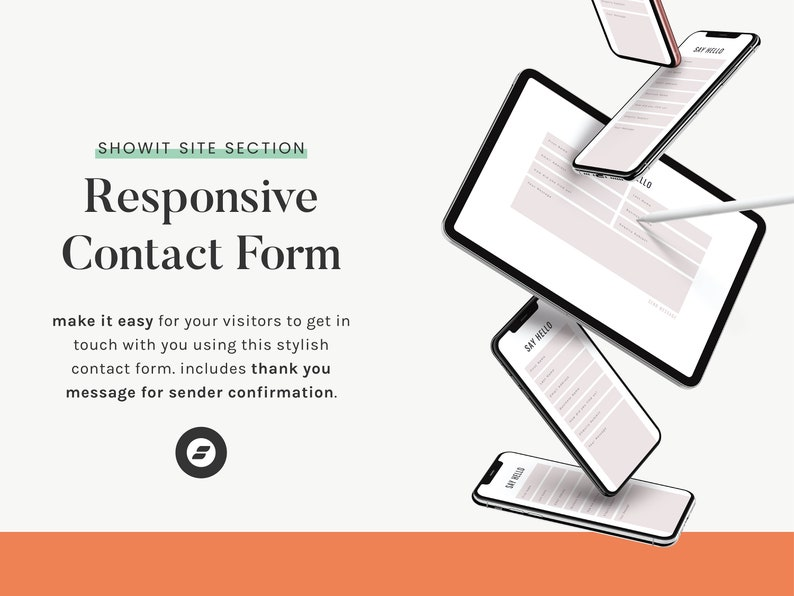 Contact Form with Thank You Message  Showit Template Showit image 0