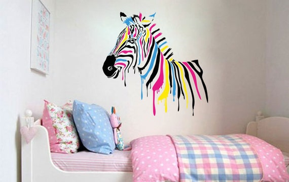 Wall Decal Kids Horse Color Zebra Wall Decor Wall Art Vinyl Decals Home  Decor Children\'s Bedroom Sticker Self-adhesive Art Print Nursery