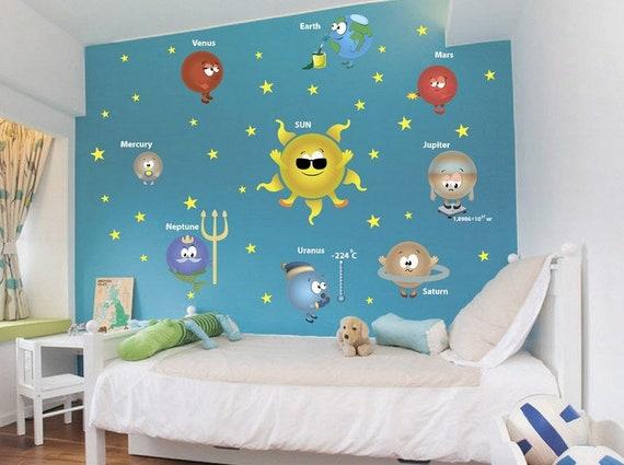 Wall Decal Kids Solar System Wall Decor Wall Art Vinyl Decals For Boys Home  Decor Children\'s Bedroom Sticker Self-adhesive Art Print Nursery