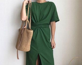 Linen green knotted dress