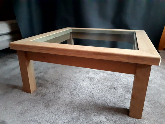 Awe Inspiring Solid Oak Glass Top Coffee Table Pabps2019 Chair Design Images Pabps2019Com