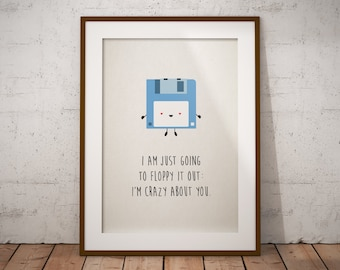 Cute Poster / Greeting Card Floppy Disk