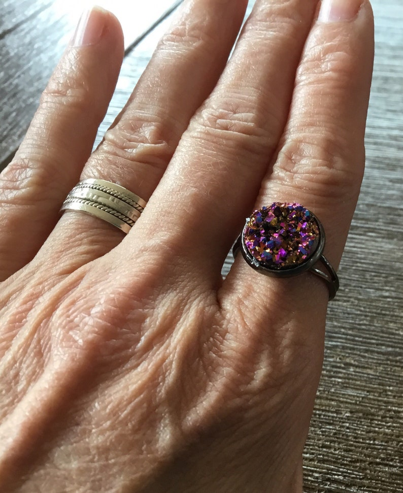 Ring adjustable gunmetal color with textured resin rose gold  gunmetal ring gold and pink resin