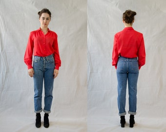 Red Cotton Summer Blouse
