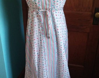 Vintage Floral & Stripe Poly/Cotton Sundress by Rags by Kressandra