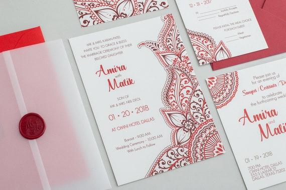 Amira Wedding Invitation Set / Indian Wedding invitation /   Etsy
