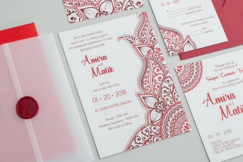 Amira Wedding Invitation Set Indian Wedding Invitation Henna Wedding Invitation Mehndi Wedding Invitation