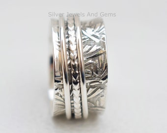 Solid 925 Sterling Silver Meditation Ring Statement Ring Spinner Ring Size ra456