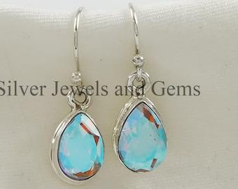 mystic quartz teardrop earrings  raw brass earrings  aura quartz earrings  mermaid jewelry  rainbow earrings