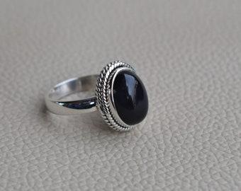 Natural Black Onyx Ring-Handmade Silver Ring-925 Sterling Silver Ring-Marquise Black Onyx Designer Ring-Gift for her-December Birthstone