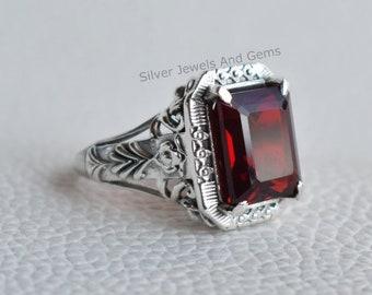 Natural Garnet Ring-Handmade Silver Ring-925 Sterling Silver Ring-Designer Rectangle Garnet Ring-Anniversary Ring-January Birthstone