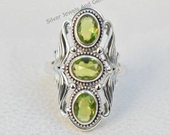925 Sterling Silver Ring Peridot Gemstone Free Shipping American Seller AR1725 Natural Peridot Ring
