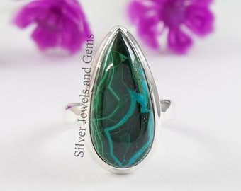 Peruvian Chrysocolla 925 sterling silver ring size 7 R0159