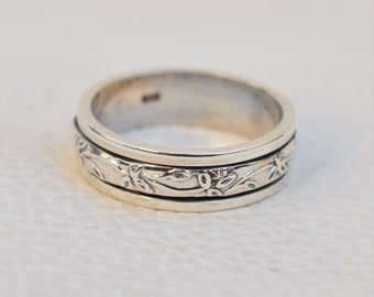 Designer Ring Plain Silver Ring,Three Tone Ring Fidget Ring Anxiety Ring Spinner Ring Bohemian Ring Meditation Ring