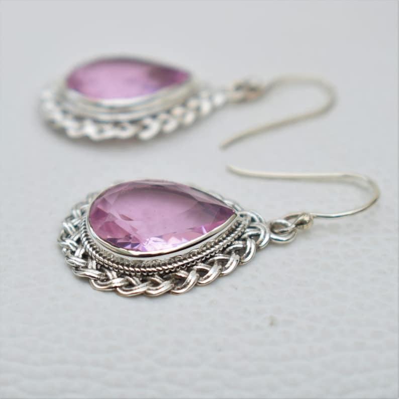 Pink Quartz Earrings-Handmade Silver Earrings-925 Sterling Silver-Teardrop Pink Quartz Designer Earrings-Dangle Drop Earrings