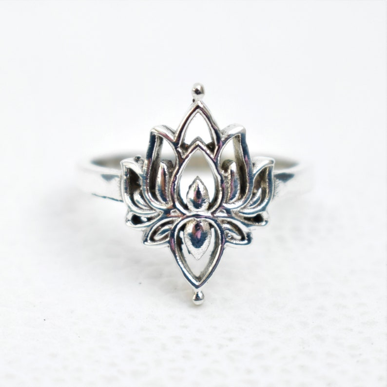 Designer Ring-Promise Ring Sterling Silver Lotus Ring-Handmade Silver Ring-925 Sterling Silver Ring-Silver Lotus Ring-Gift for her