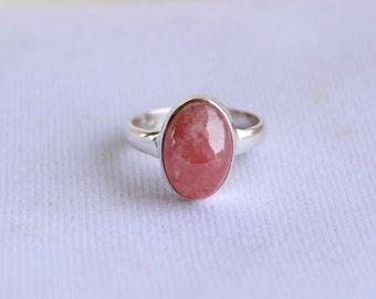 Genuine Rhodochrosite  Ring- Handmade Silver Ring-Sterling 925-Pink Ring-Gift for her-February Birthstone-Promise Ring