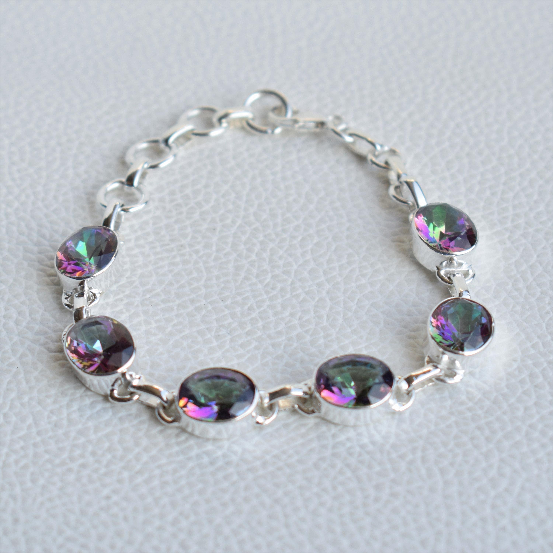 Fashion Jewelry Handmade Jewelry 7 Inches Adjustable Bracelet Beautiful Blue Topaz Bracelet Topaz Jewelry 925 Sterling Silver