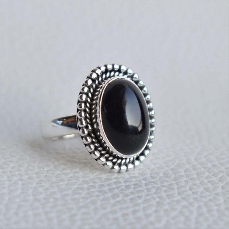 Natural Black Onyx Ring-Handmade Silver Ring-925 Sterling Silver Ring-Black Onyx Designer Ring-Gift for her-December Birthstone-Promise Ring