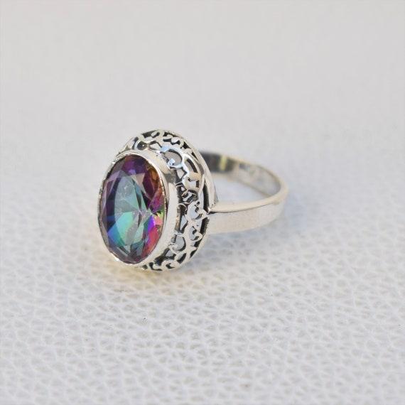 Mystic Topaz Ring Gemstones 925 Sterling Silver Ring Anniversary Gift Gemstone Ring