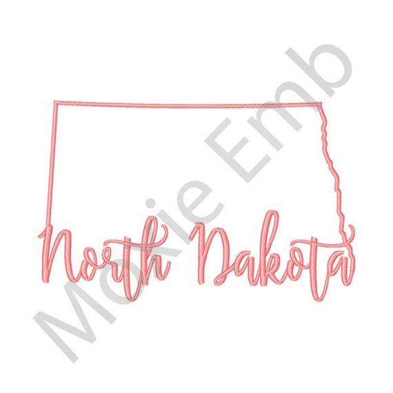 North Dakota Machine Embroidery Design State Embroidery Etsy