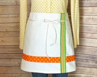 half apron / cafe apron / women's apron / monogrammed apron