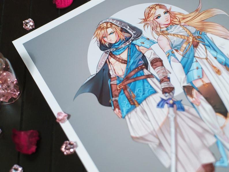 Link and Zelda (The Legend of Zelda BOTW) Art Print A4 // ilabarattolo  japanese design