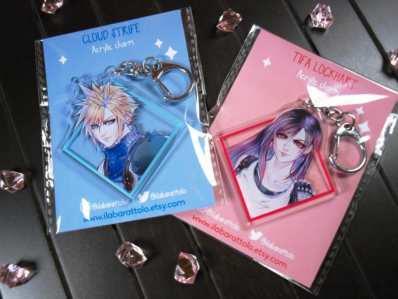 Cloud Tifa Final Fantasy VII Remake double sided acrylic charms