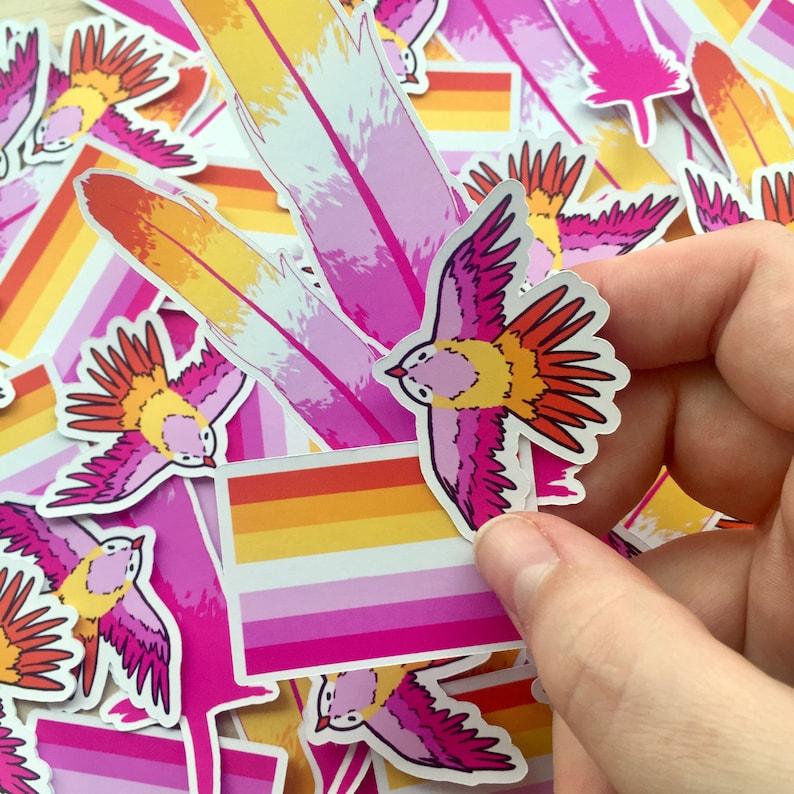 Community Lesbian Sticker Pastel Bird & Feather Lesbian Pride image 0