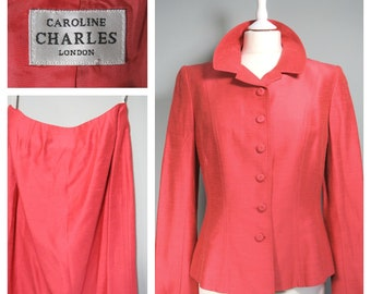 32d3360145 Vintage CAROLINE CHARLES Skirt & Jacket Suit Size 12 Uk 10 / 8, London,  Coral Pink, Tailored, Outfit, Lined, Womens, Ladies