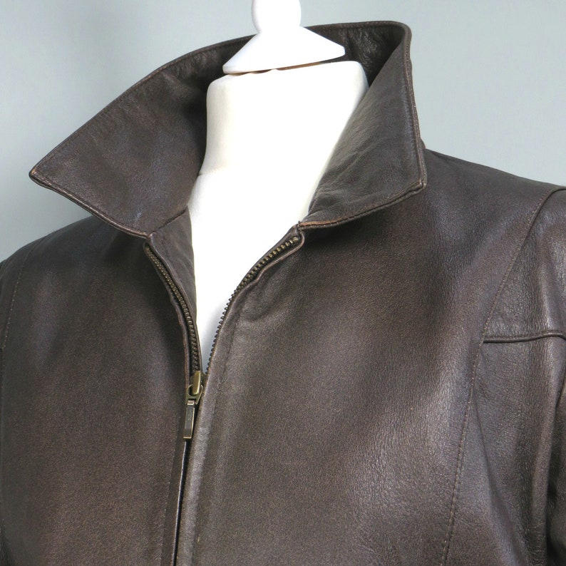Vintage 80s  90s MODERN WOMAN Brown Leather Jacket Size 14 Ladies Modern UK 10 Cool Lined Womens Short Zip Collared