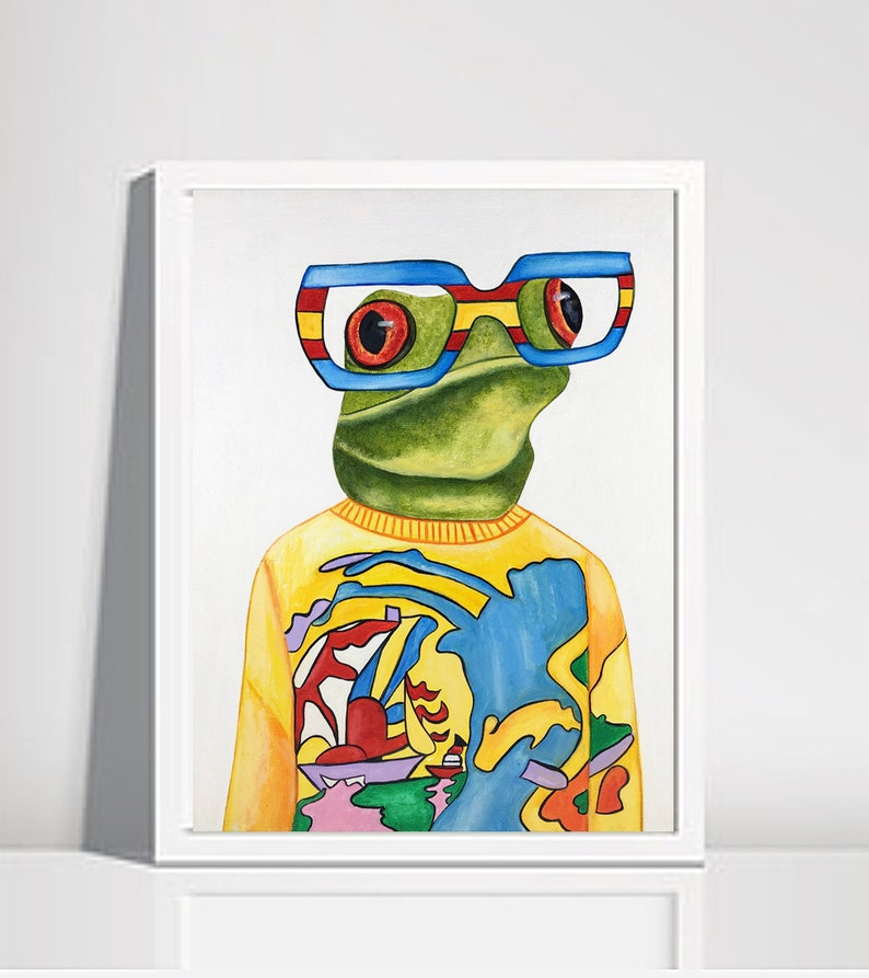 Frog oil painting Framed painting Frogs Hipster frogs image 0