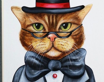 Cat print art, animal portraits, animals in clothes, nursery art print, wall art