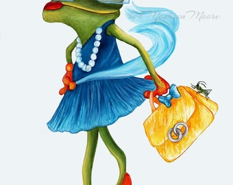 Frogs, Frida frog art, Frog art print, Frogs in clothes, Hipster frog, is room art, Nursery art