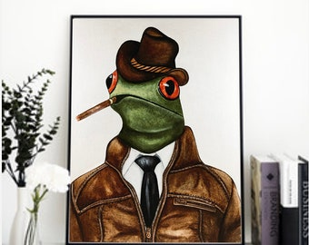 Frog art print, Frog print, Red eyed tree frog, frog decor, amphibian art, frog art