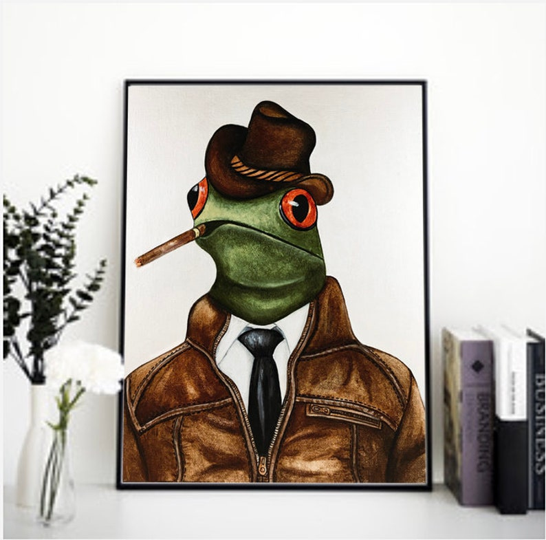 Frog art print Frog print Red eyed tree frog frog decor image 0