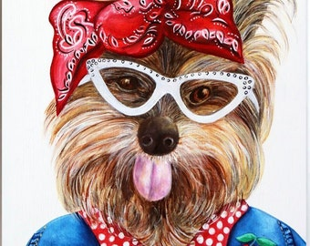 Yorkie Dog art print, Dog art, Yorkies, Dogs in clothes, Hipster dogs