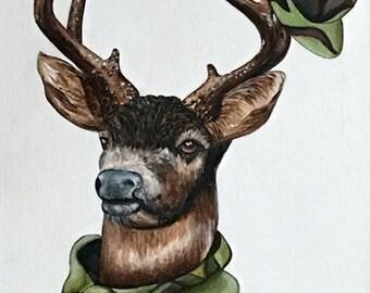 Deer art print, Deer print, Animals in clothes, Woodland animals