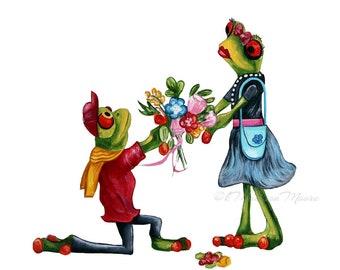Art print, frogs art prints, Animal art print, Animals in clothes, Frogs in clothes, Hipster anima art