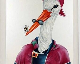 Animal art print, Bird print, stork art Prints, nursery art, kids art, birds