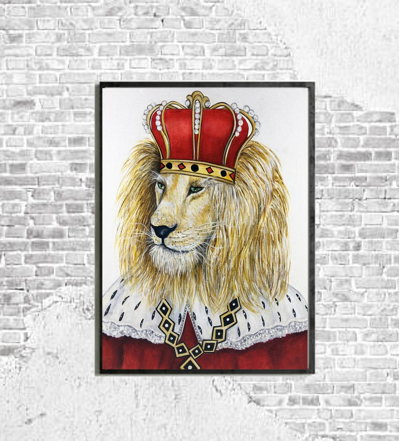 Cats Lion wall art print King of Jungle art Hipster Animal image 0