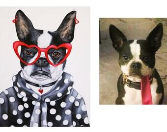 Custom Dog Art,  Boston Terrier Portrait, Dog Portrait, Dogs in Clothes