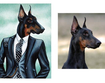 Dog art, Doberman Pinscher dog painting, Hipster Dog in clothes commissions