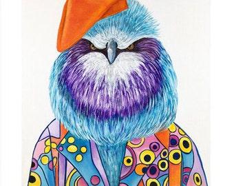 Bird print, Bird Artm Print,  Bird illustration, Animals in clothes, Modern nursery, Children's art,