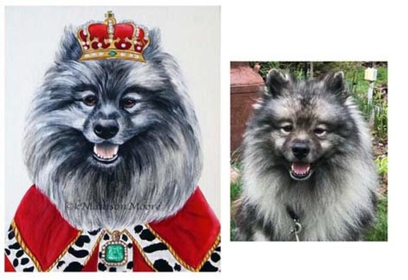 Keeshond dog portrait Hipster Dog portrait Dog paintings image 0