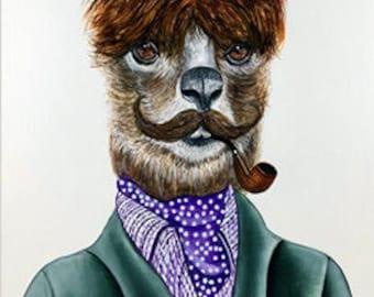 Lama print, Alpaca print, Lama illustration, Hipster animals, Animals in clothes, Lama 5x7 print
