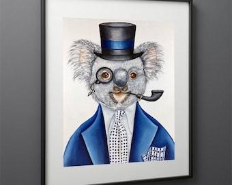 Koala Bear Art Print, Animal Art  Print, Animals in Clothes